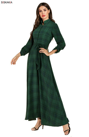 Elegant Slim Swing Plaid Long Dress