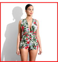 Sexy Floral Print Romper