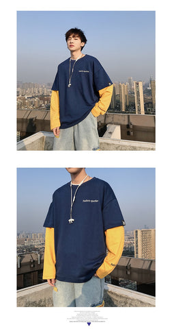 Fake Two Piece Man Casual Sweatshirts