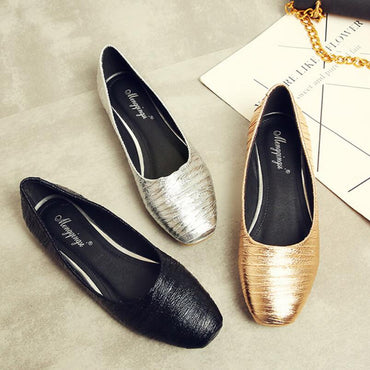 shiny leather ballet flats shoes