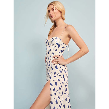 Vintage sexy slash neck print dress