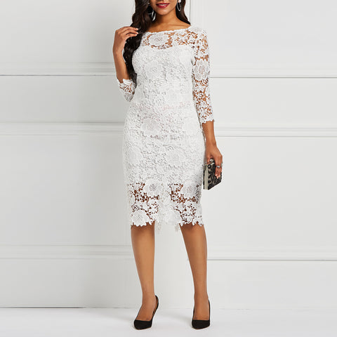 See Through Hollow Out Floral Lace Dress