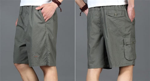 Elastic Waist Loose Army Green Cargo Shorts