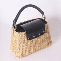 genuine leather handmade rattan weaving beach bags