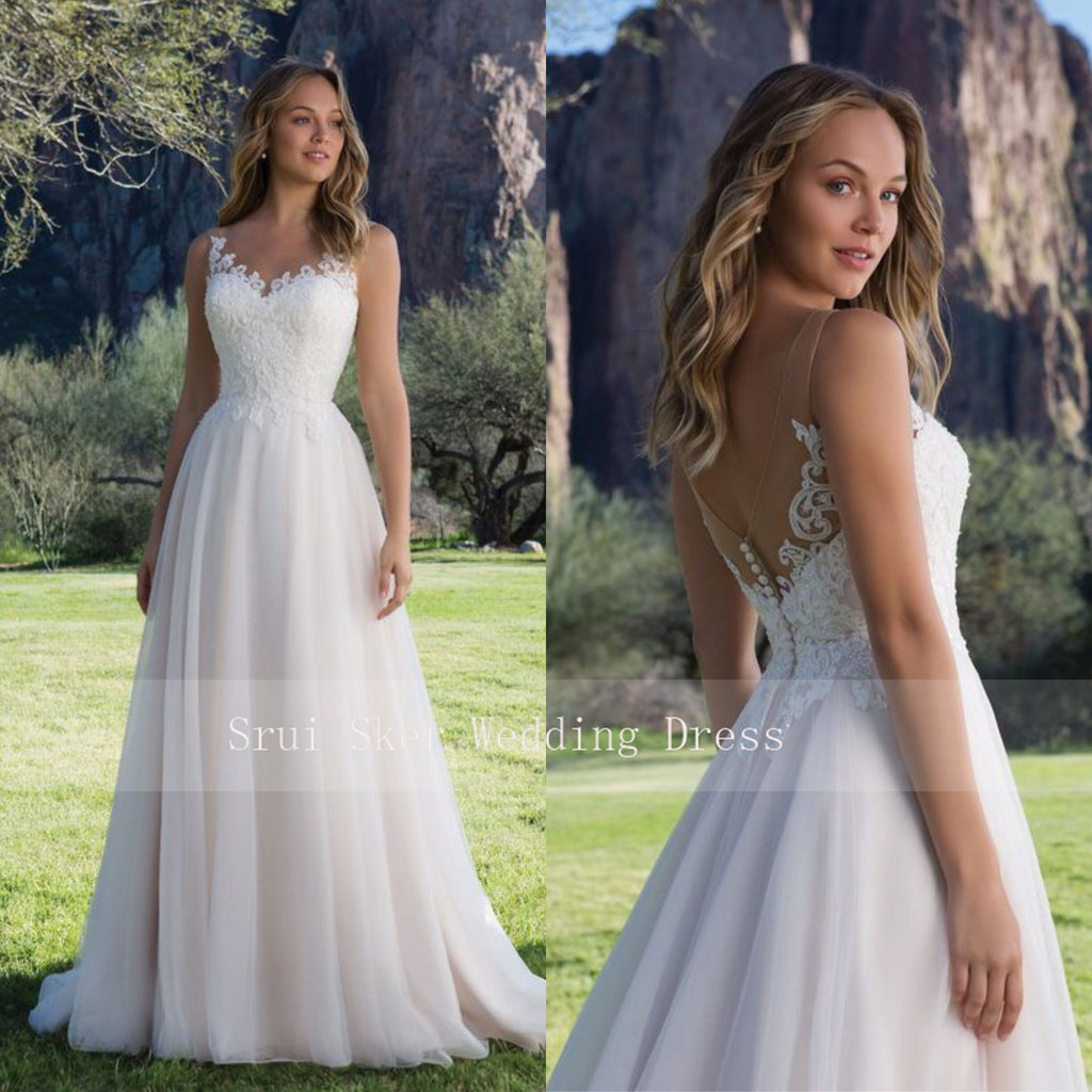 A-Line with Scoop Lace Neckline Bridal Dress