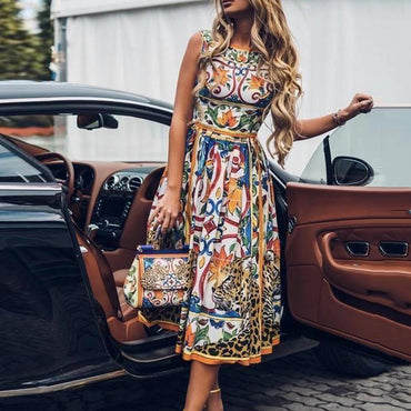Fashion Print Bohemian Midi Dresses