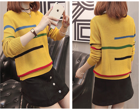 Beautiful Color Striped Long Sleeve Knitted Sweater