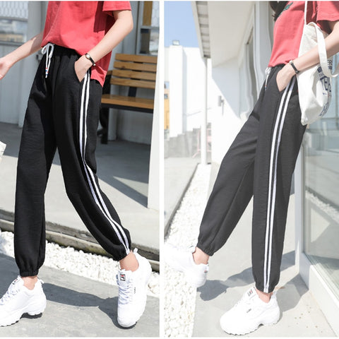 Side-Stripe Women Loose Elastic Sportswear
