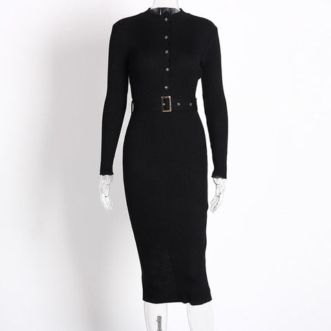 Midi Sweater button with belt Dress