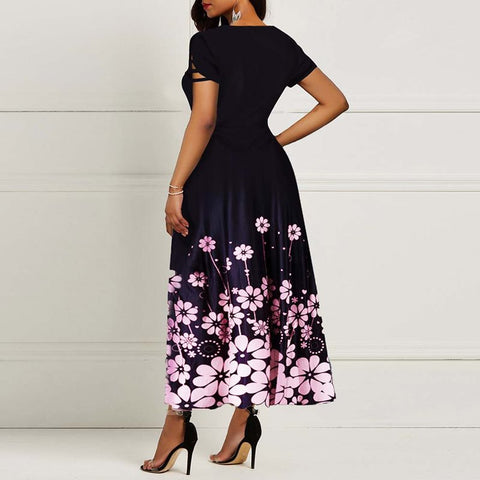 Floral Printing Sleeve Round Neck Bowknot Dress
