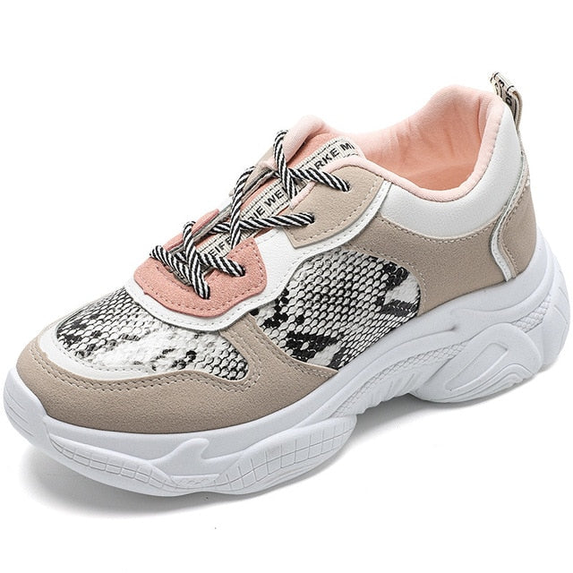 Printed Lace-up Chunky Sneakers Shoes