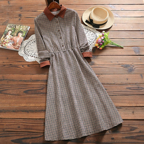 corduroy vintage plaid dress