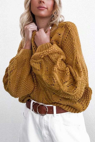 Mustard Knitted Round Neck Hollow Sweater