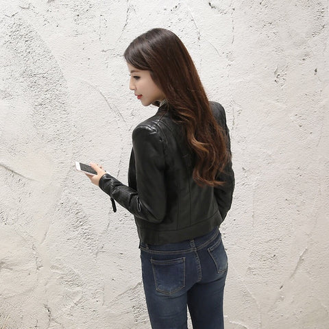 Slim Soft Moto Biker Faux Leather Jacket