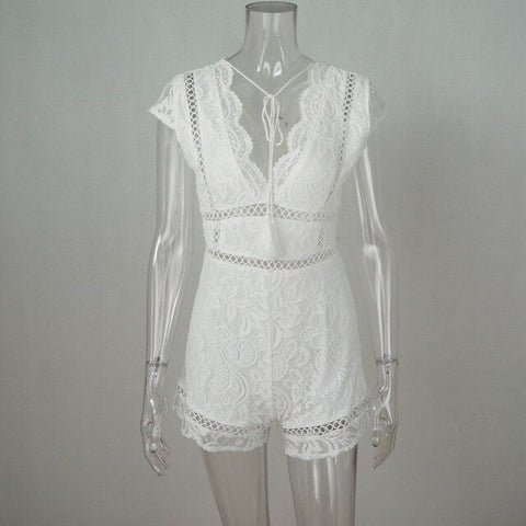 Floral Lace White Short Transparent Backless Rompers