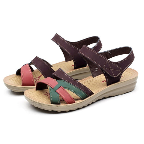 Leather Comfort Round Toe Sandals