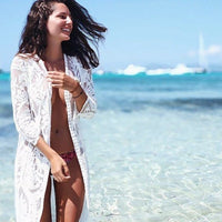 Bohemian White Beach Cover-Up Kimono