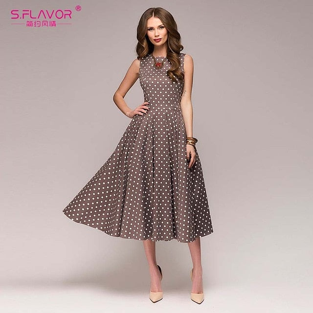 Sleeveless O-neck Dot Mid-Calf Dress