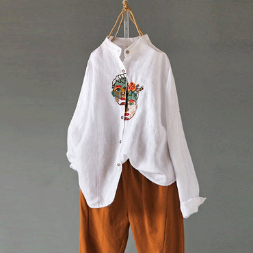 Vintage Embroidery Casual Blouse