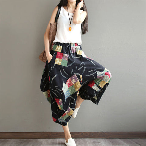 Boho Sarouel Cotton Linen Wide Leg Crop Pants
