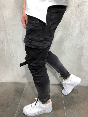 Multi-pocket Biker Jeans