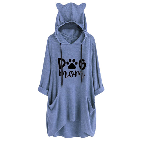 Dog Mom Print Long Sleeve Cat Ear Hoodies