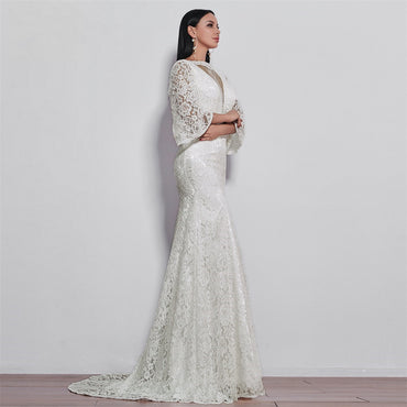 long sleeves style lace wedding dress