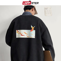 Fleece Oversized Fish Print Sweatshirt