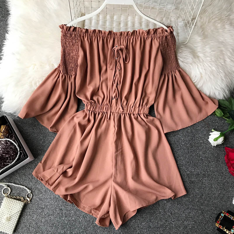 Fashion Lace Up Off Shoulder Romper