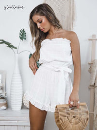 Off Shoulder White Overalls Slash Neck romper