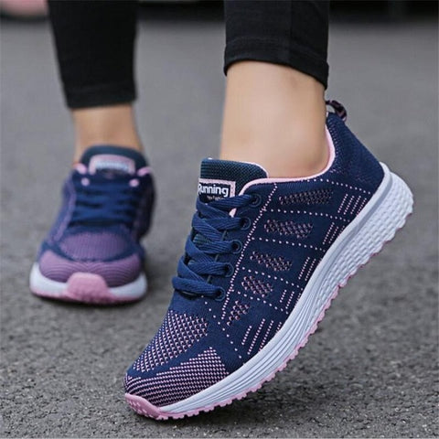 Mesh lace up walking flat sneakers