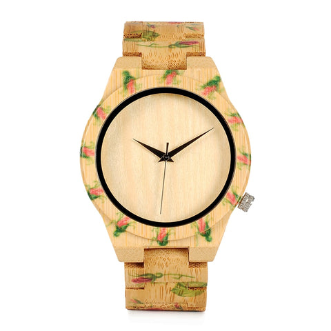 Rose Pattern Bamboo Watches