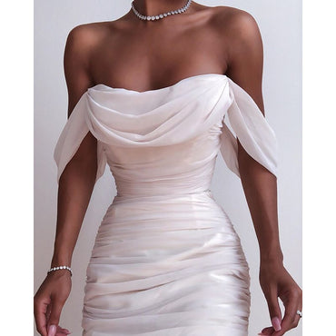 Off Shoulder Sexy Backless Mesh Ruched Dress