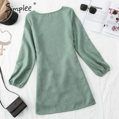 puff sleeve O-neck dress