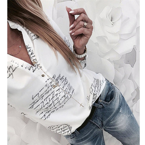 Long Sleeves  V Neck Letters Printing Women Blouses