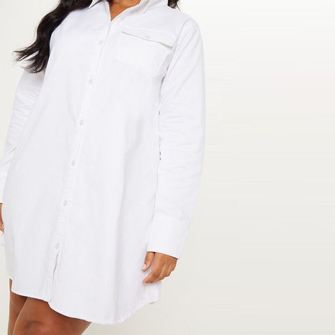Loose Casual Round Neck  Shirt With Pocket Dress