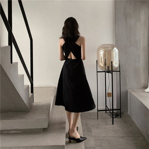 Elegant Hepburn Style Sleeveless Back Cross Midi A Line Dress