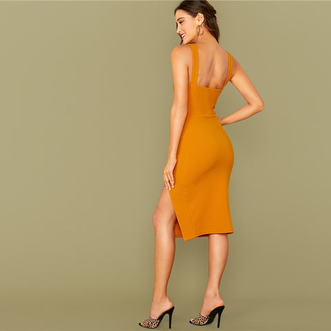 Solid Split Thick Strap Dress