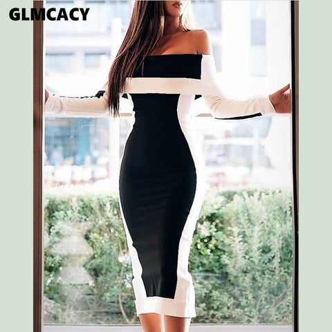 Off Shoulder Colorblock  Elegant Club Party Dress
