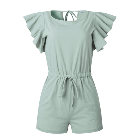 Linen Casual Ruffles Elastic Waist Sexy Rompers