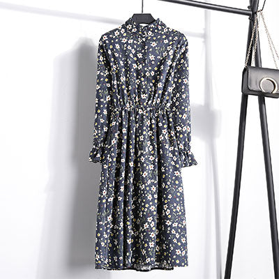 Corduroy Butterfly Sleeve Print Mid-long Dress