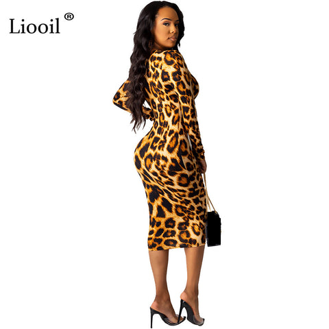Leopard Print Sexy Bodycon Midi Dress