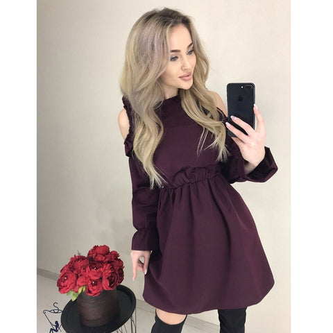 Solid Ruffle Sexy Off Shoulder Long Sleeve Dress