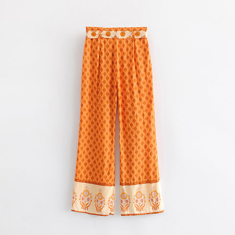 floral spliced wild leg pants
