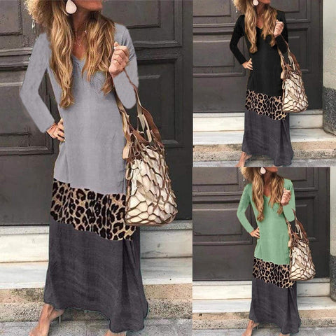 Long Sleeve V Neck Leopard Patchwork Dress