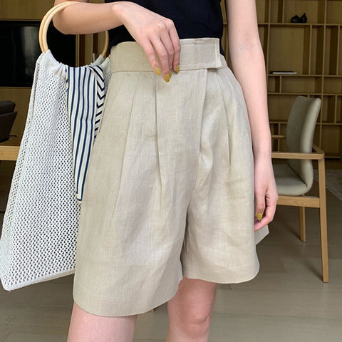 High Waist Ruched Large Size Solid Wide Leg Short