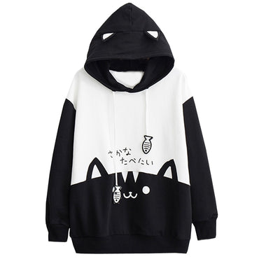 kawaii Cat Print Pocket Hoodies