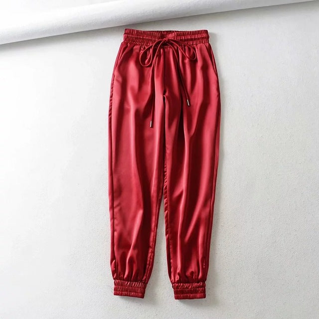 satin joggers high waist pants