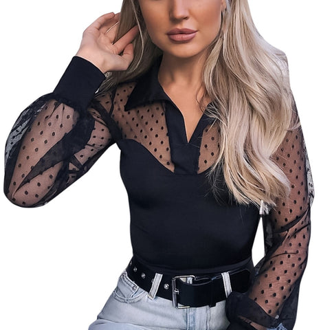 Lace Mesh Transparent Long Sleeve Blouse
