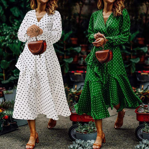 Bohemian Polka Dot Print Ruffles Dress